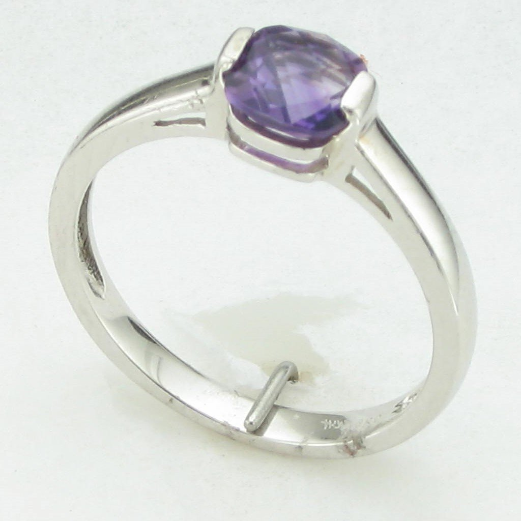 0.68ct Cushion Cut Checkerboard Amethyst Ring set in Sterling Silver