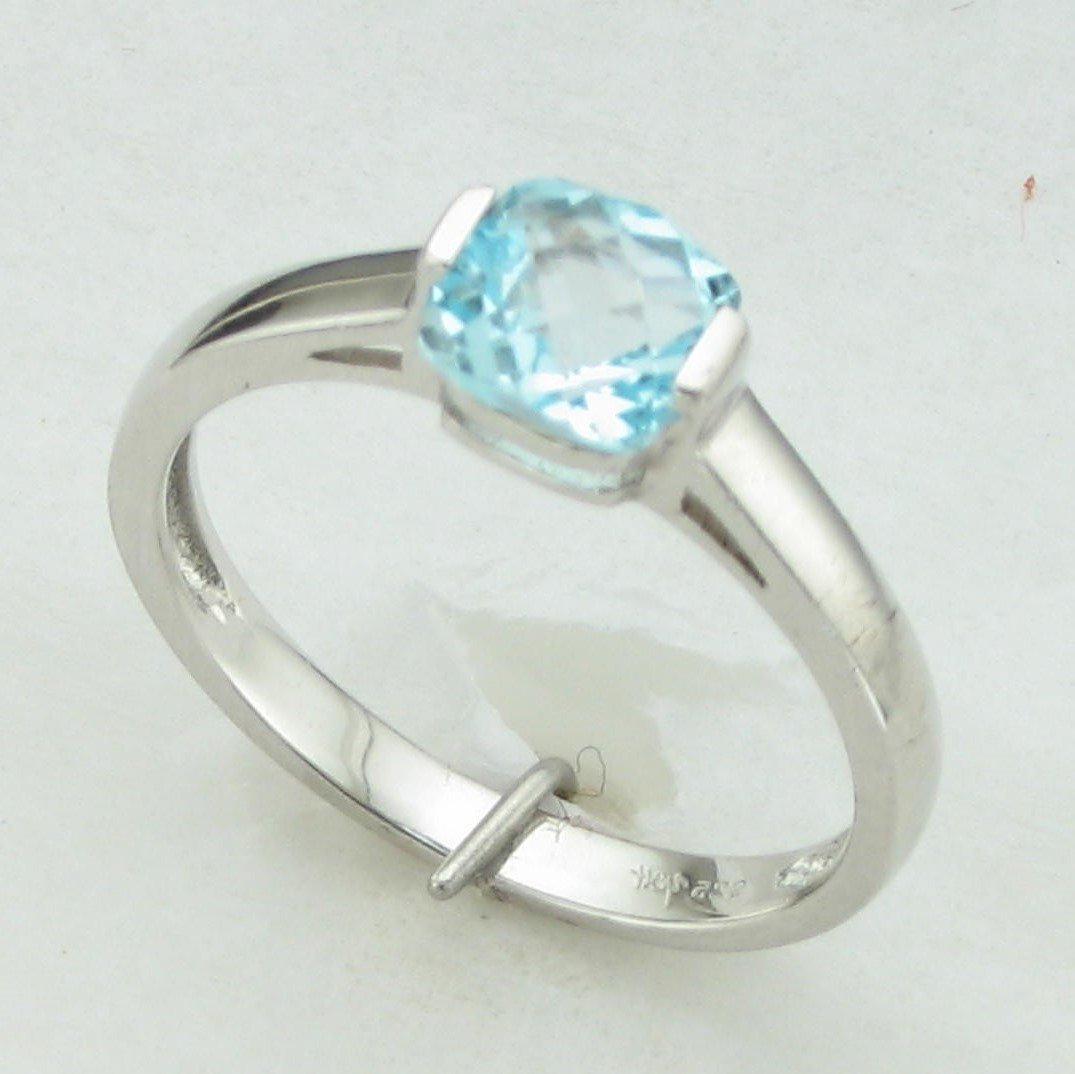 0.92ct Cushion Cut Checkerboard Sky Blue Topaz Ring set in Sterling Silver