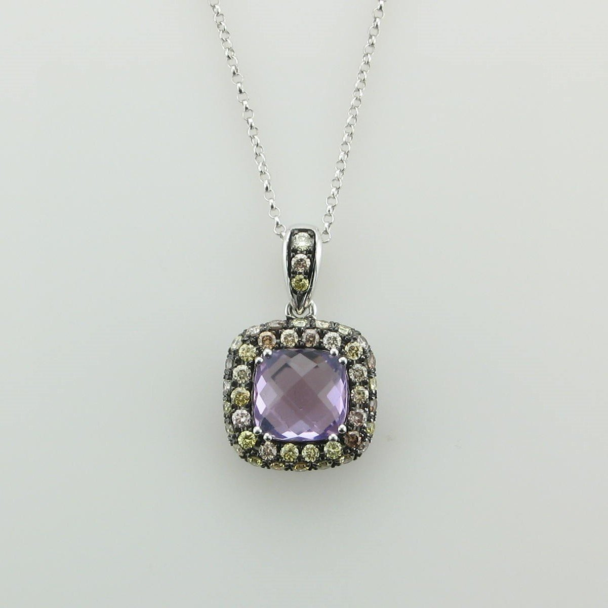 14K White Gold Amethyst and Multi-Color Diamond Necklace