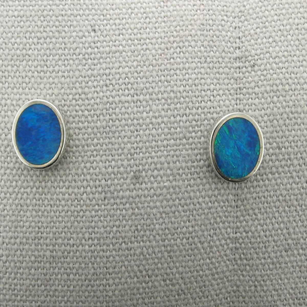 Oval Opal Earrings set in Sterling Silver