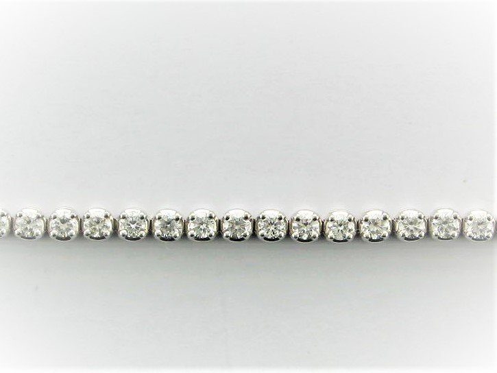 2.23 Total Carat Weight 7 Diamond Tennis Bracelet Set in 14 Karat White Gold