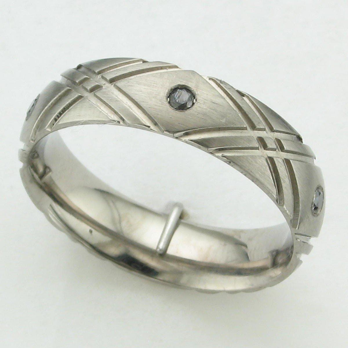Titanium Criss-Cross Black Diamond Ring