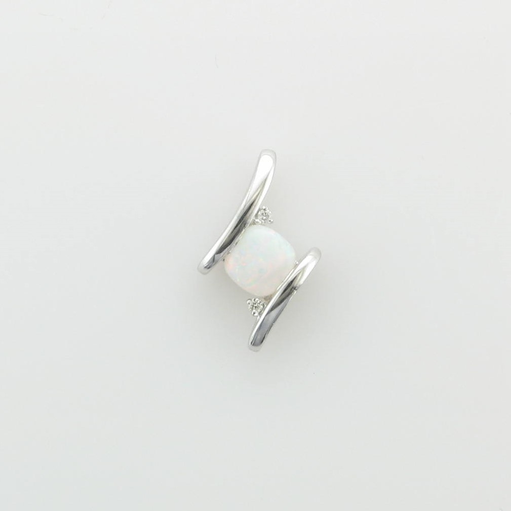 0.44ct White Opal Pendant set in 14k White Gold