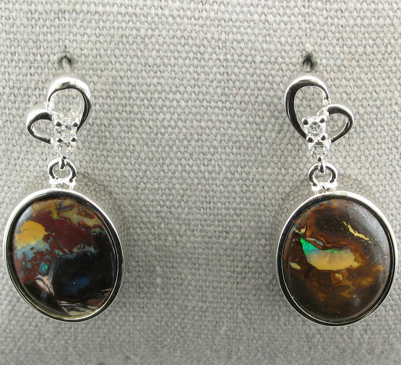 Oval Bouldar Opal Drop Earrings set in Sterling Silver