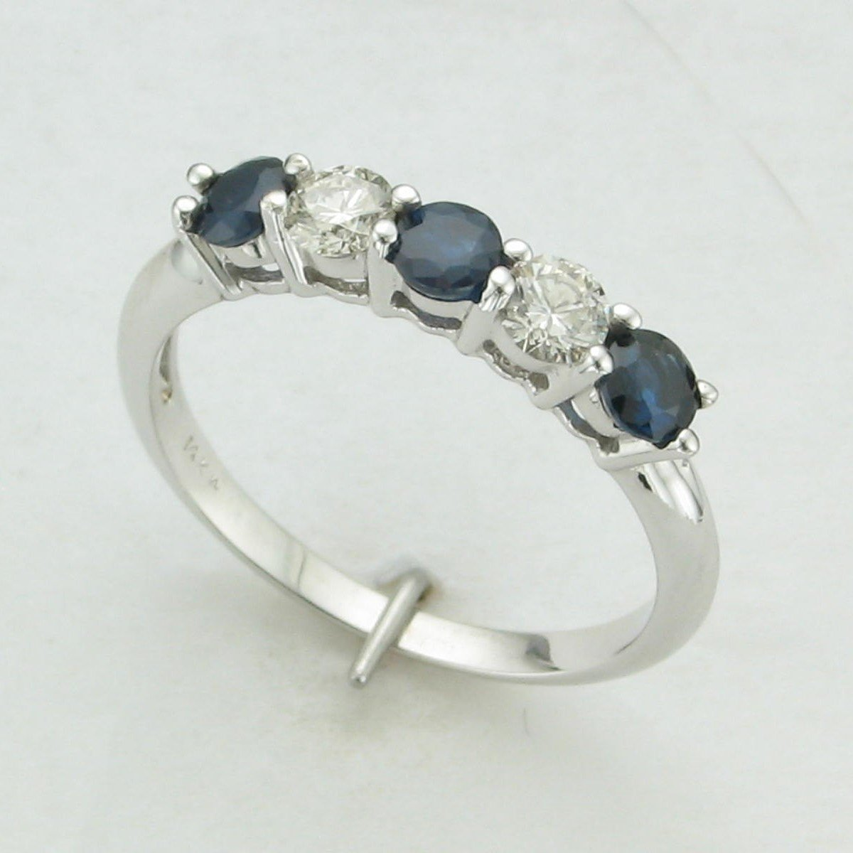 14K White Gold Sapphire and Diamond Five-Stone Ring