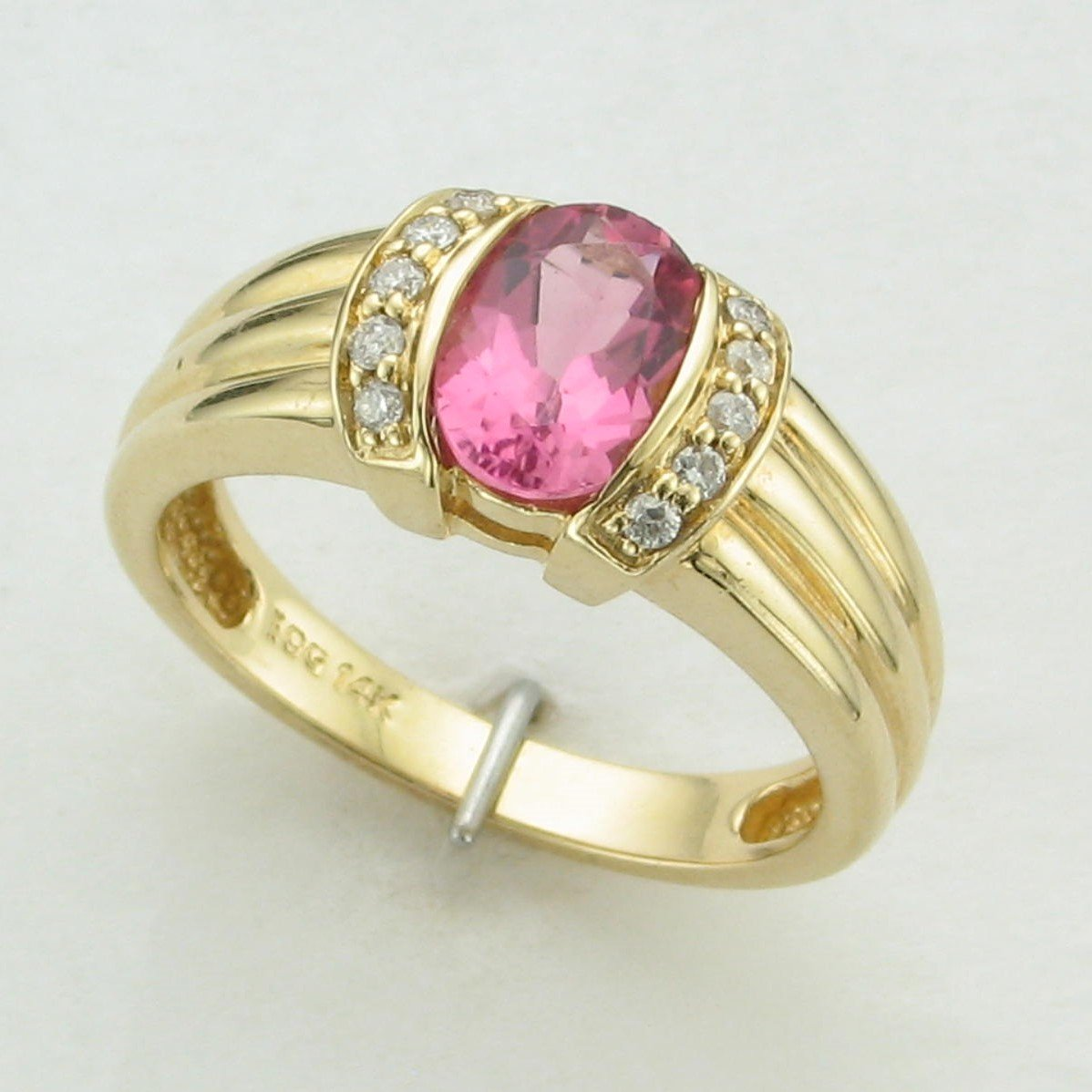 1.20 Carat Pink Tourmaline and Diamond Ring Set in 14 Karat Yellow Gold