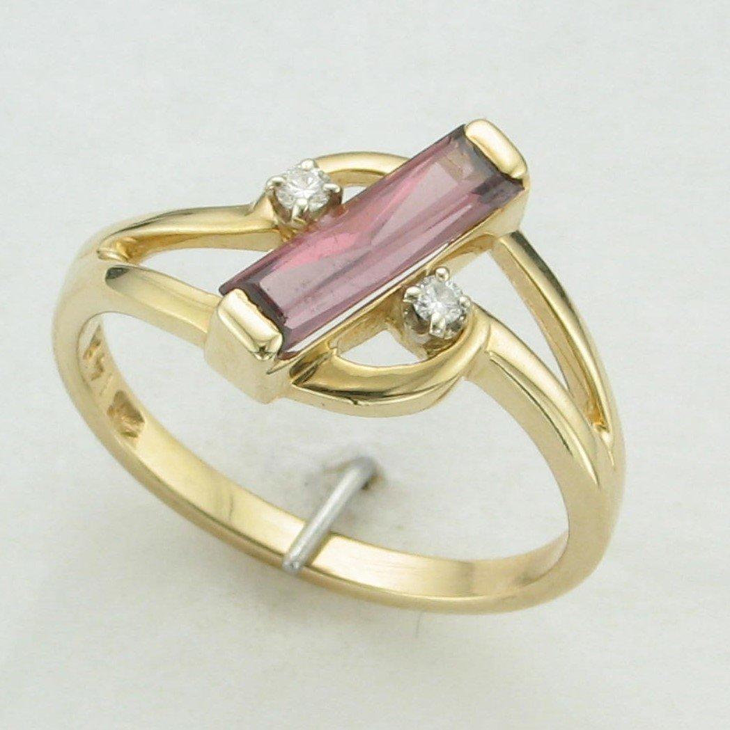 Slender Pink Tourmaline and Diamond Ring Set in 14 Karat Yellow Gold