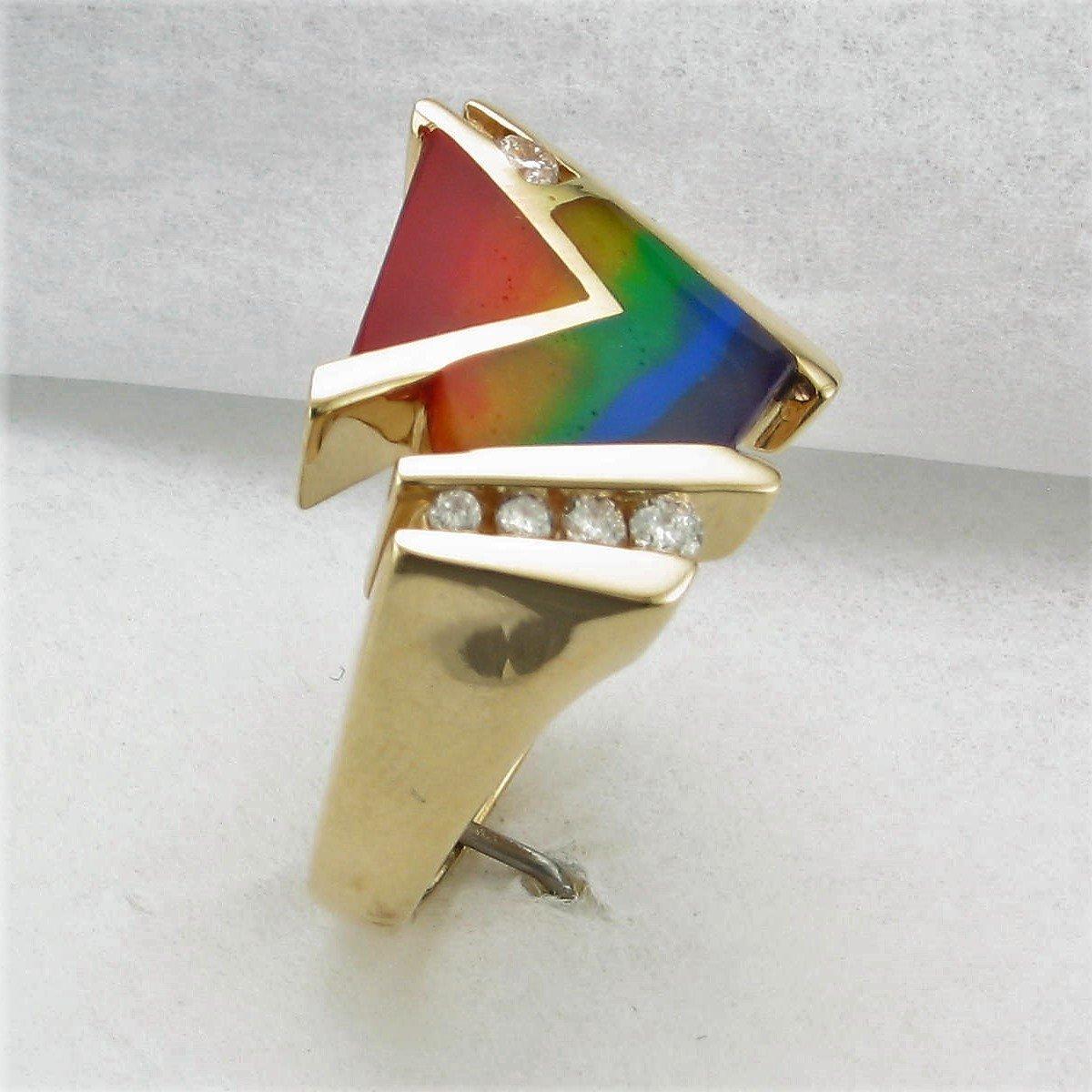 14K Yellow Gold Designer Rainbow Enamel and Diamond Ring