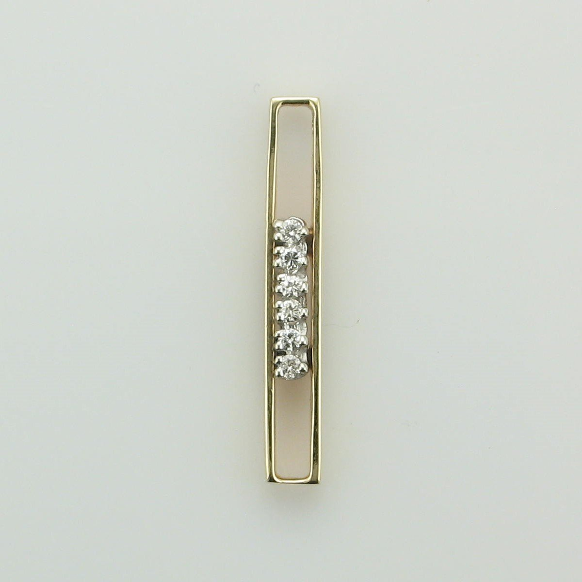 14K Yellow Gold Open Rectangle Diamond Pendant