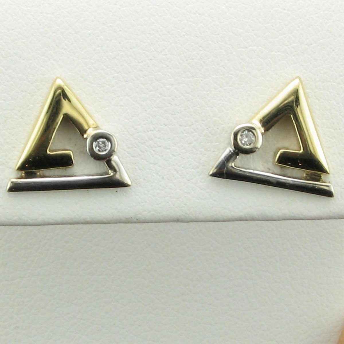 14K Two-Tone Yellow and White Gold Designer Triangle Diamond Earrings