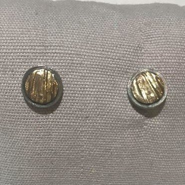 Sterling Silver and 14K Yellow Gold Two-Tone Round Textured Earrings
