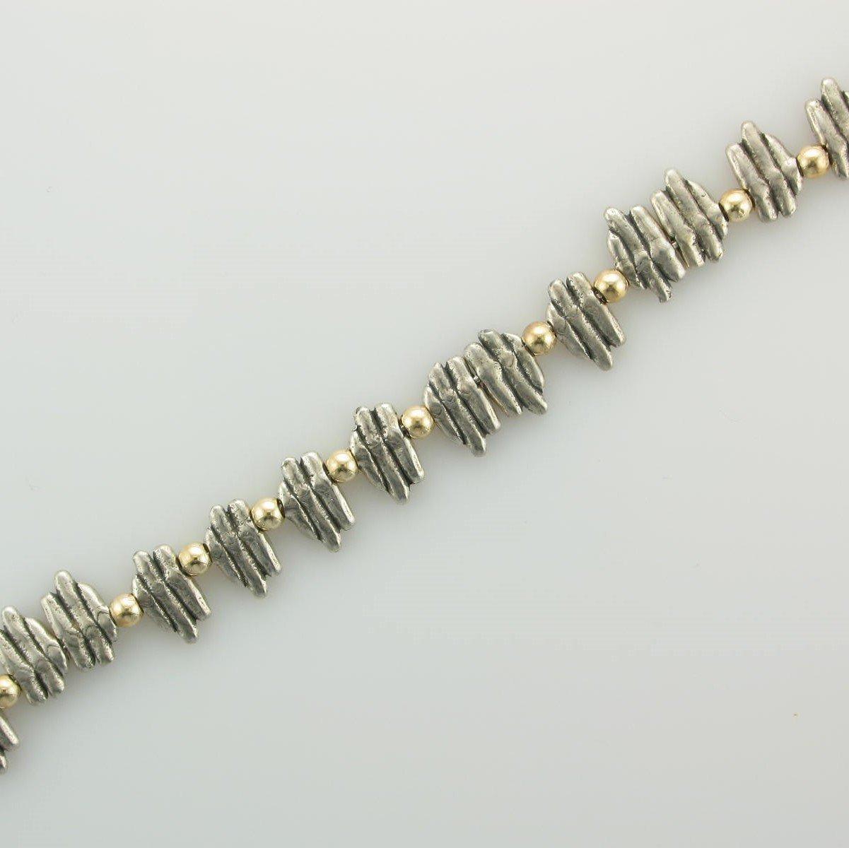 Sterling Silver Textured Square Links Bracelet