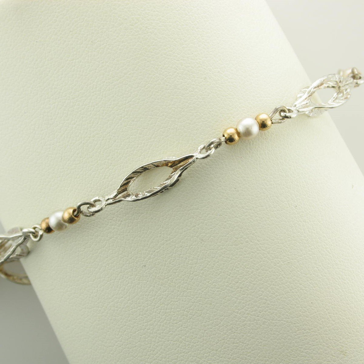 Sterling Silver Elongated Bubbles, 14K Yellow Gold Beads, and Pearls Bracelet