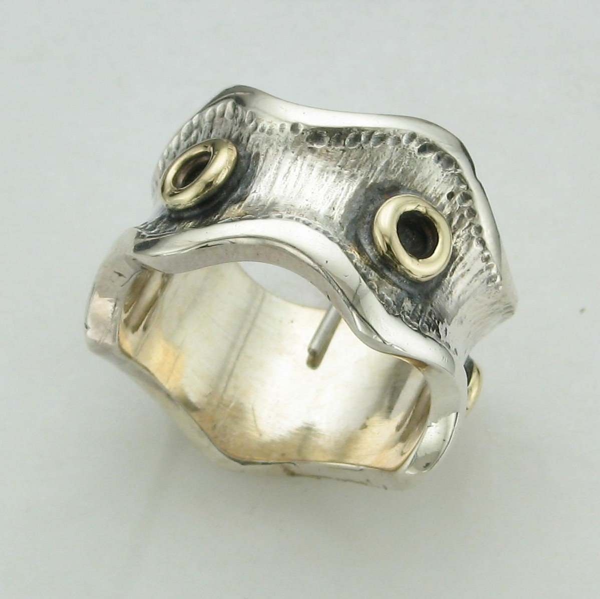 Sterling Silver and 14K Yellow Gold Two-Tone Waves and Circles Ring