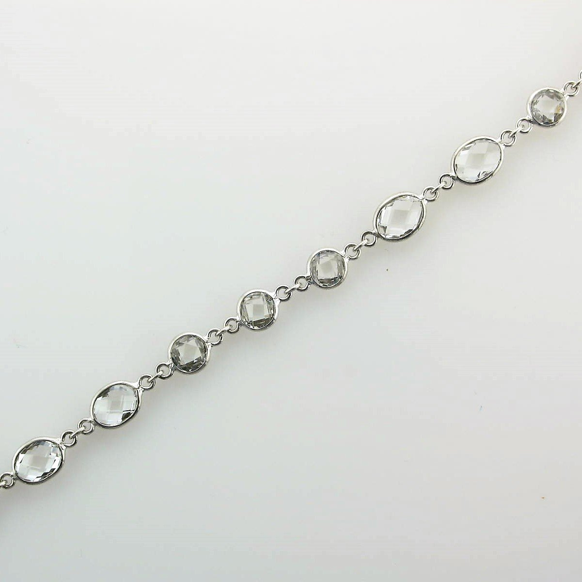 Sterling Silver Ovals and Circles White Topaz Bracelet