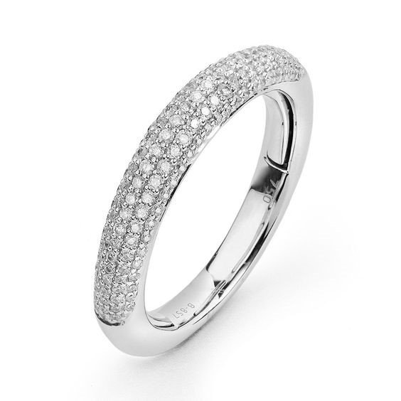 14K White Gold Pave Multi-size 0.50 Carat Diamond Ring