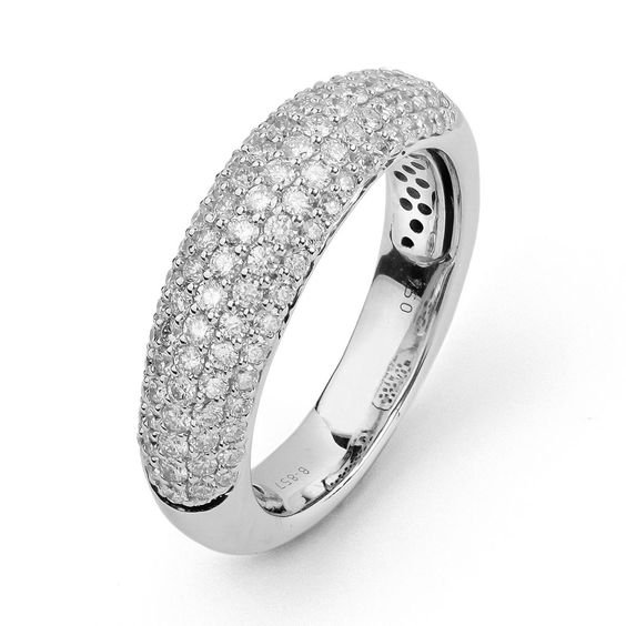 14K White Gold Pave Multi-size 1.00 Carat Diamond Ring