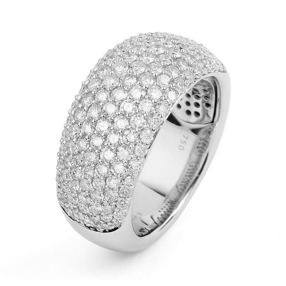 18K White Gold Pave Multi-size 2.00 Carat Diamond Ring