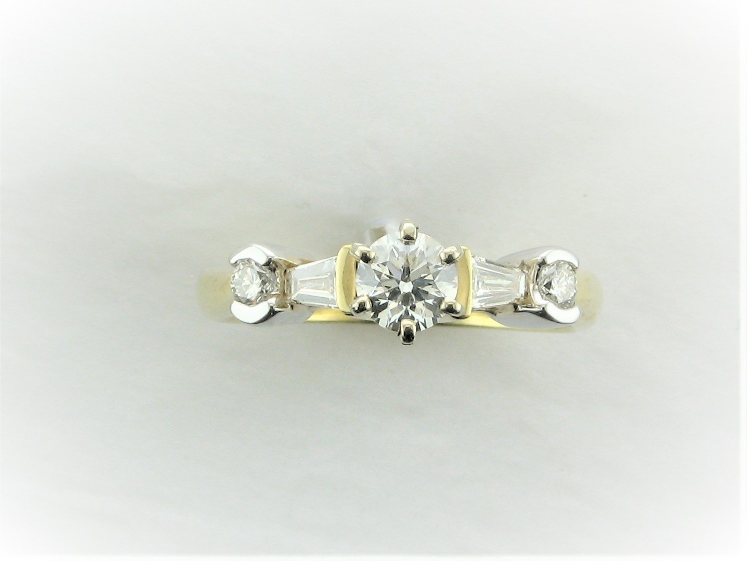 Designer Trapezoid and Round Diamond Engagement Ring Set in 18 Karat Two-Tone Yellow and White Gold