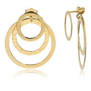 14K Yellow Gold Front and Back Triple Circles Earrings