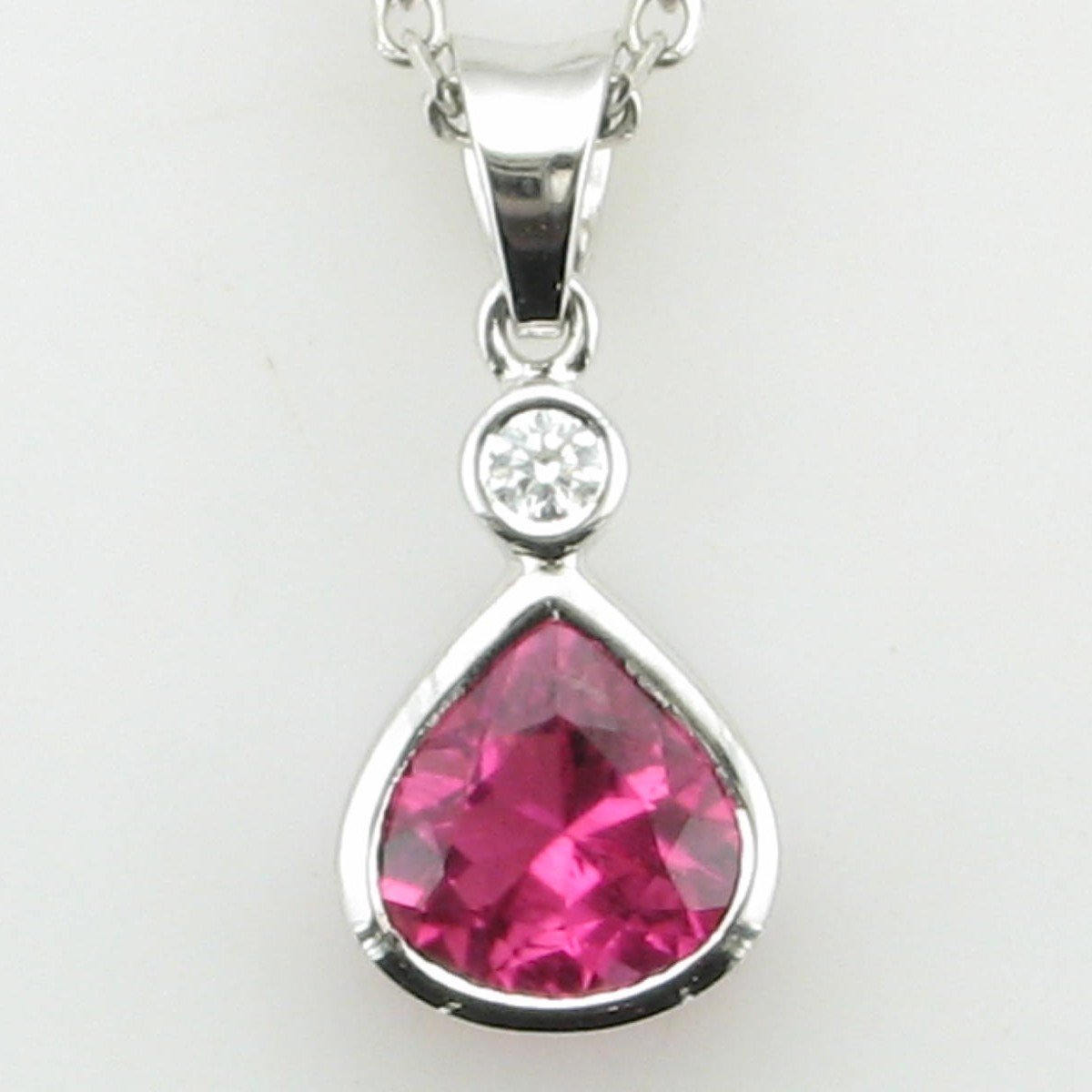 18K White Gold Designer Pear Pink Tourmaline and Diamond Pendant