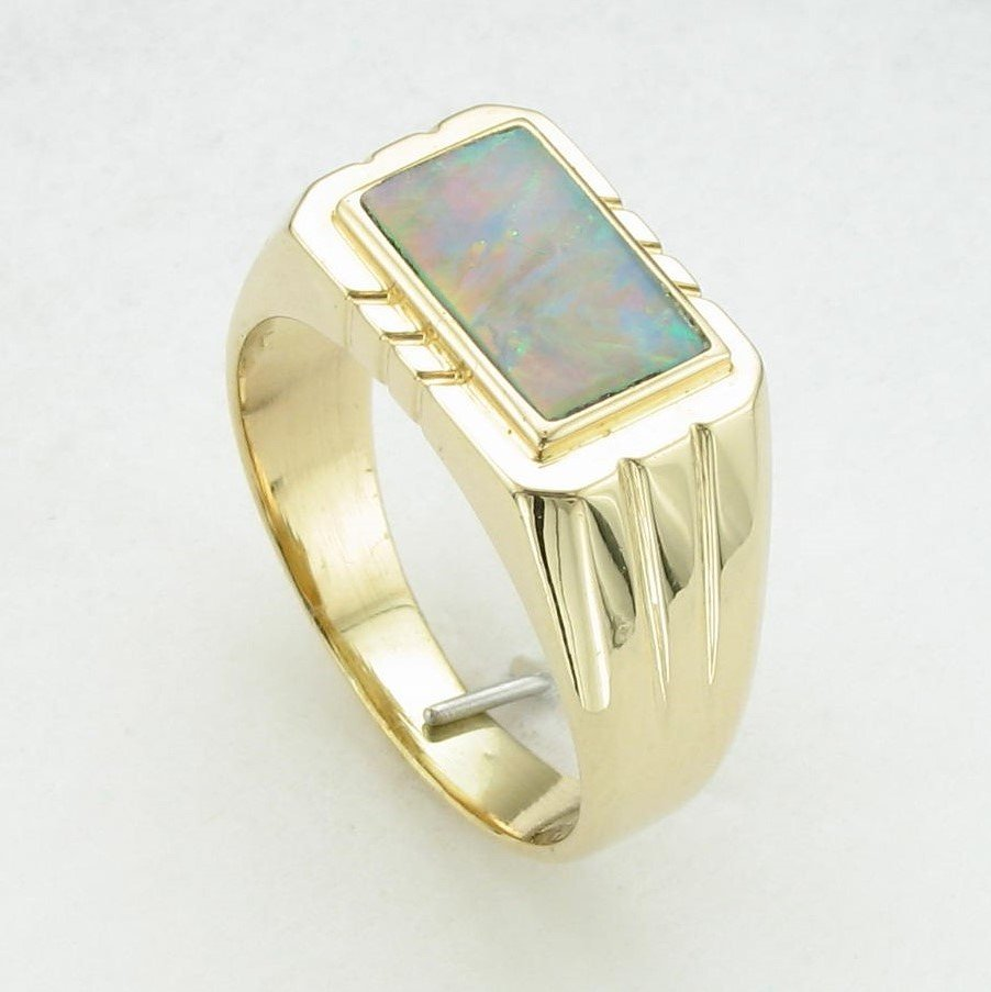 14K Yellow Gold Rectangle Opal Ring