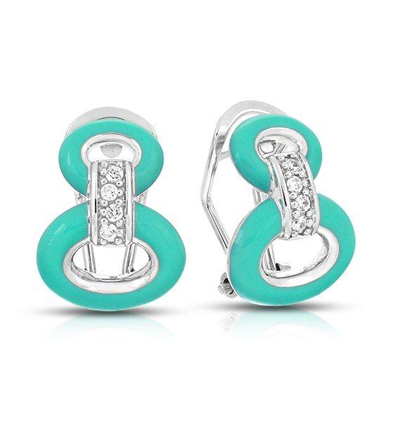 Sterling Silver Connection Teal Belle Etoile Earrings