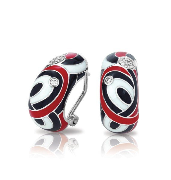 Sterling Silver Vortice Black, Red, and White Bella Etoile Earrings