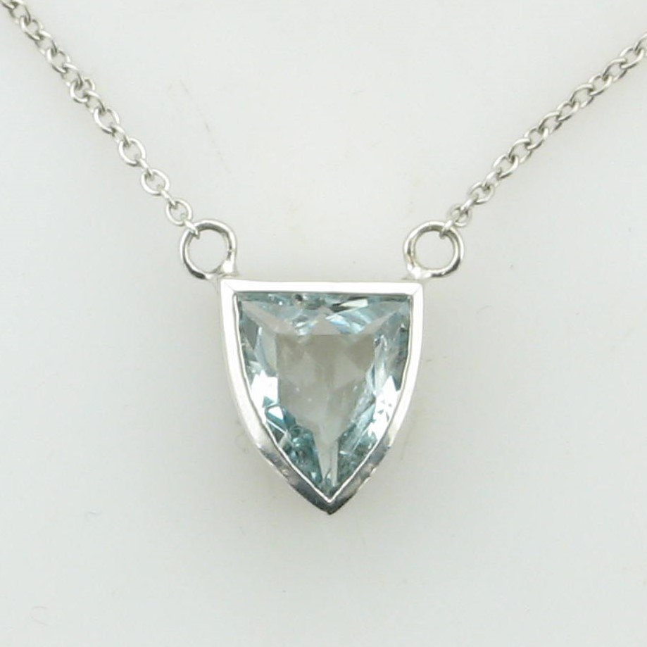 1.31ct Aquamarine Shield Cut set in 14k White Gold