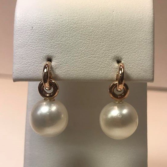 14K Rose Gold Pearl Dangle Earrings