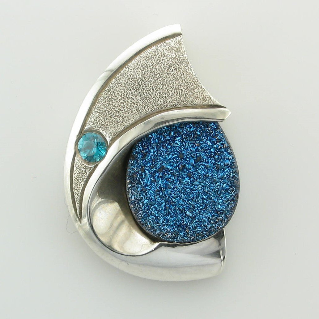Sterling Silver Designer Blue Druzy and Blue Zircon Pendant