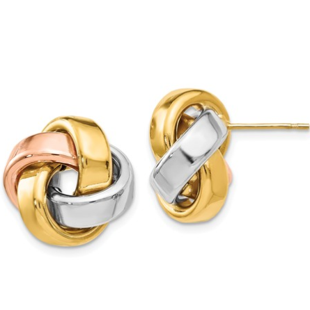 14K Tri-Tone Gold Knotted Earrings
