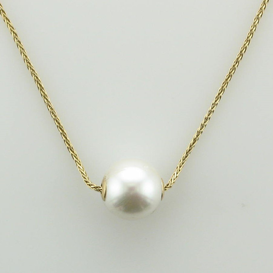 14K Yellow Gold Pearl Slide on Wheat Chain Necklace