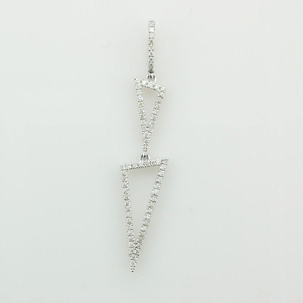 0.30tcw Diamond Elongated Triangles Pendant set in 14K White Gold