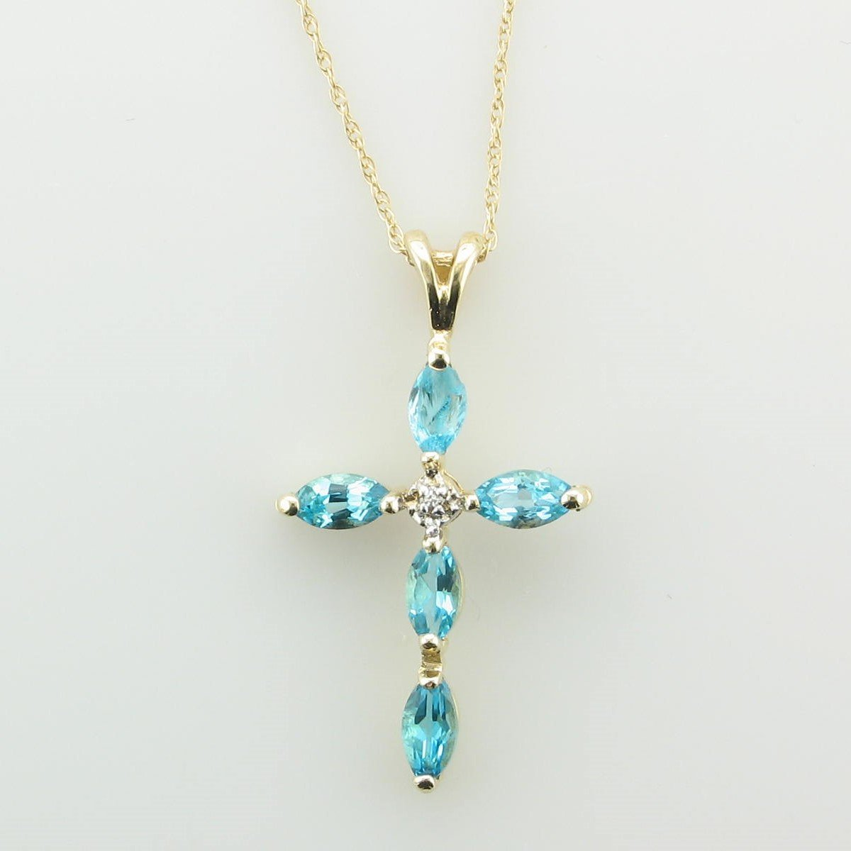 10K Yellow Gold Marquise Blue Topaz and Diamond Necklace