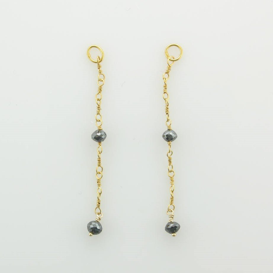 18K Yellow Gold Designer Faceted Black Diamond Earring Jackets