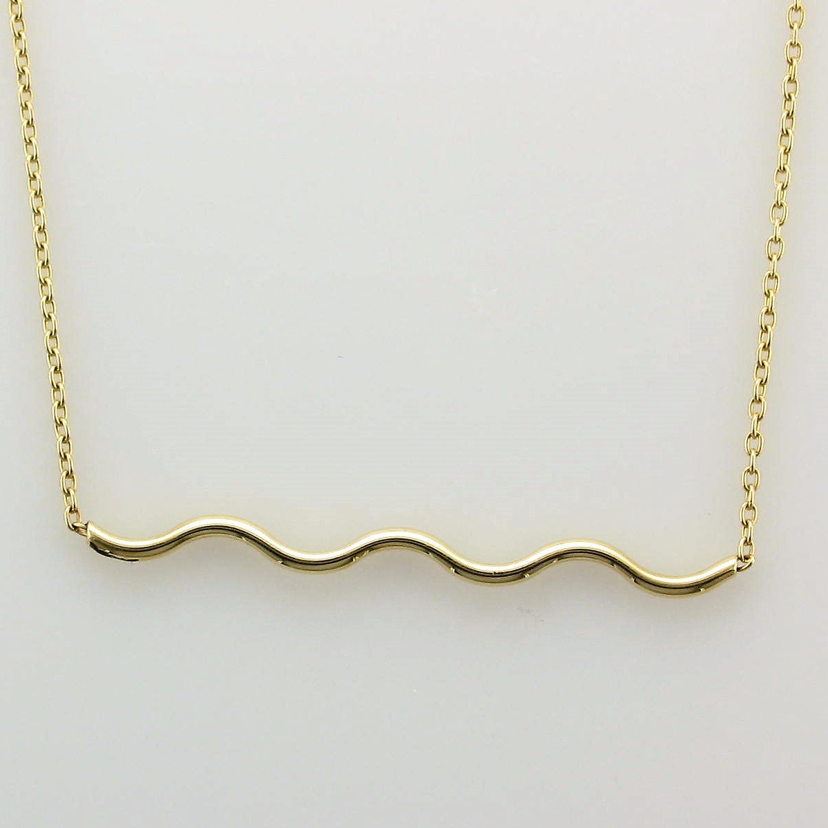 14K Yellow Gold Wave Bar Necklace