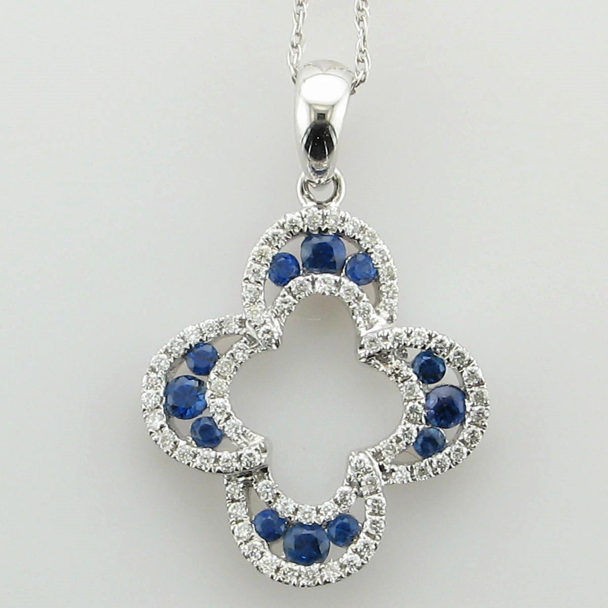 18K White Gold Open Sapphire and Diamond Crescent Halos Necklace