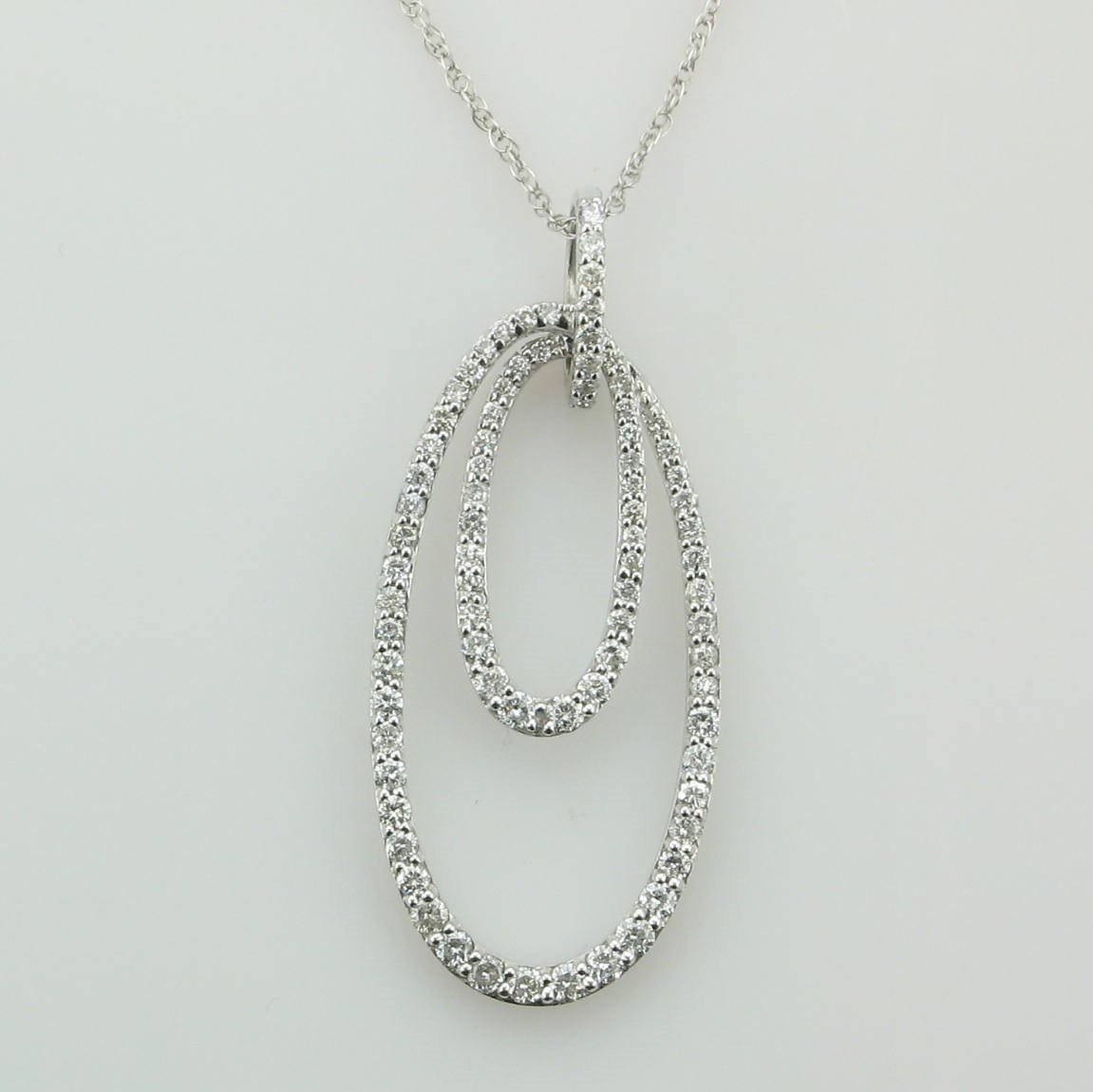 14K White Gold Double Oval Diamond Encrusted Necklace