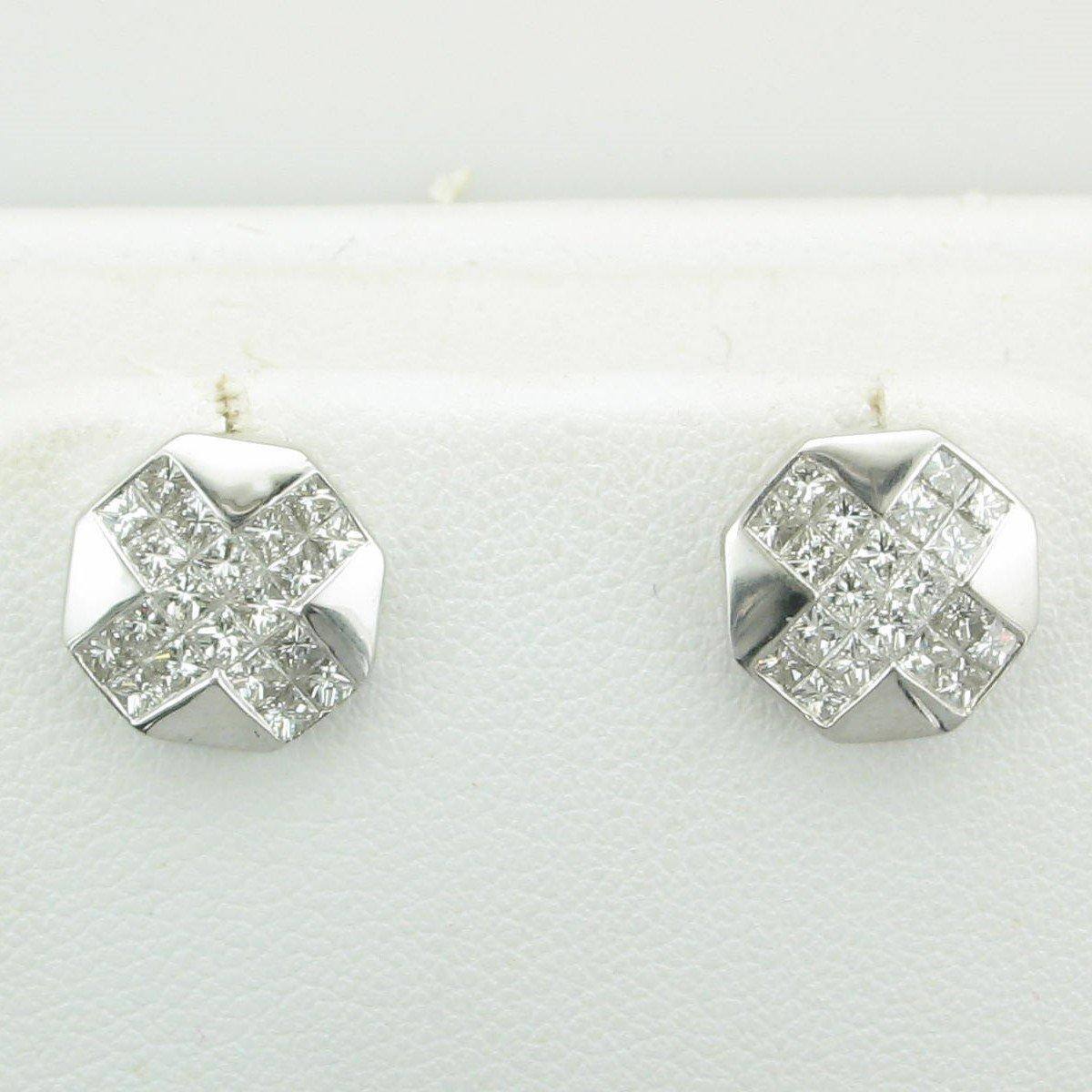 18K White Gold Octagon Diamond X Earrings