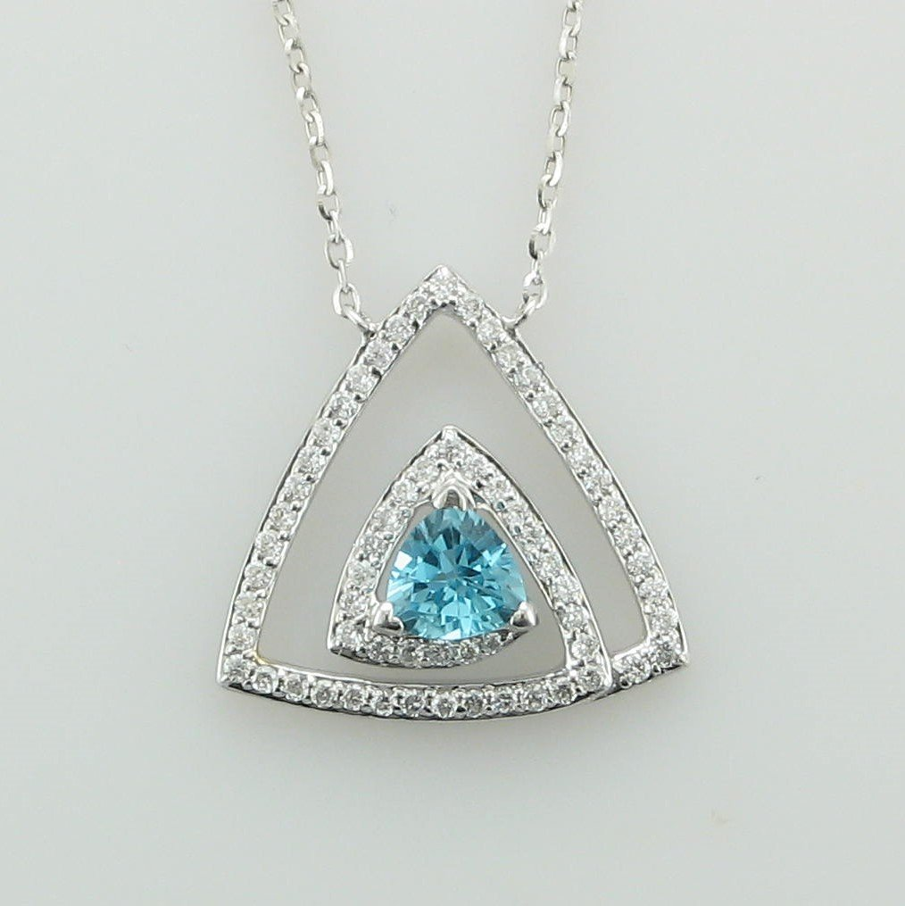 14K White Gold Trillion Blue Topaz and Diamond Necklace