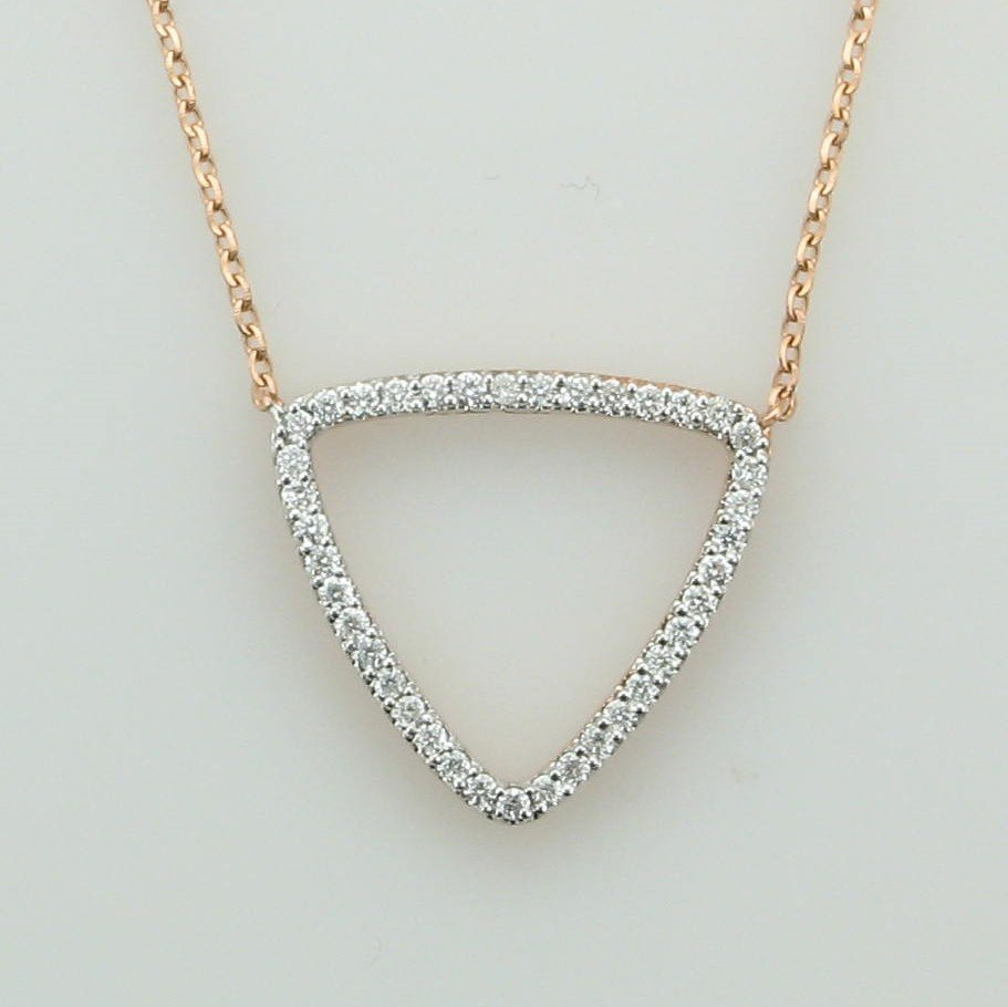14K Rose Gold Diamond Encrusted Triangle Necklace