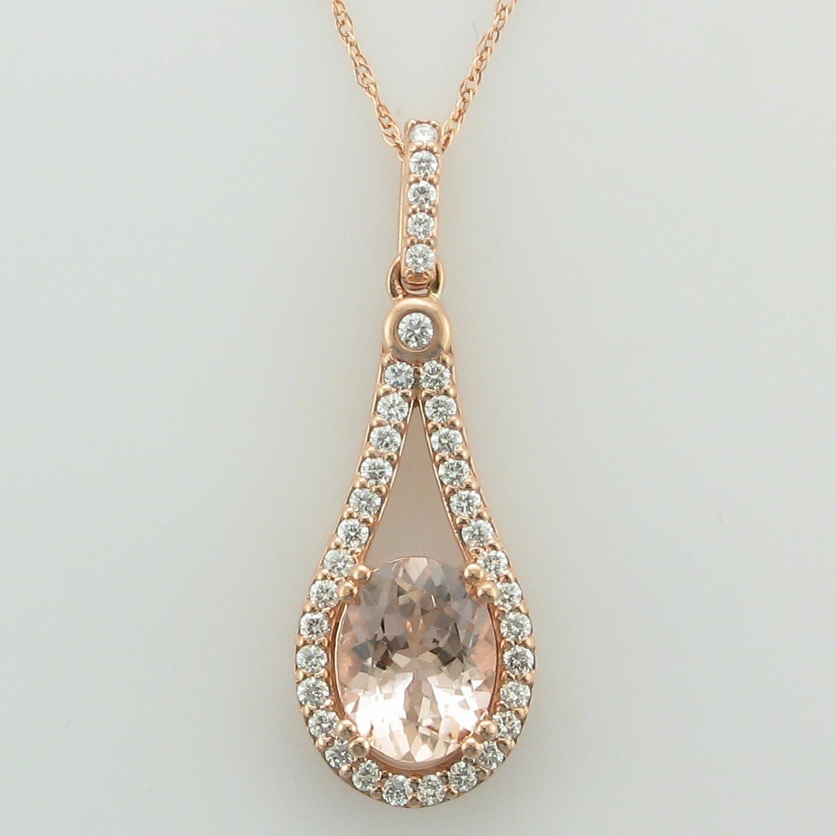 14K Rose Gold Pear Morganite and Diamond Necklace