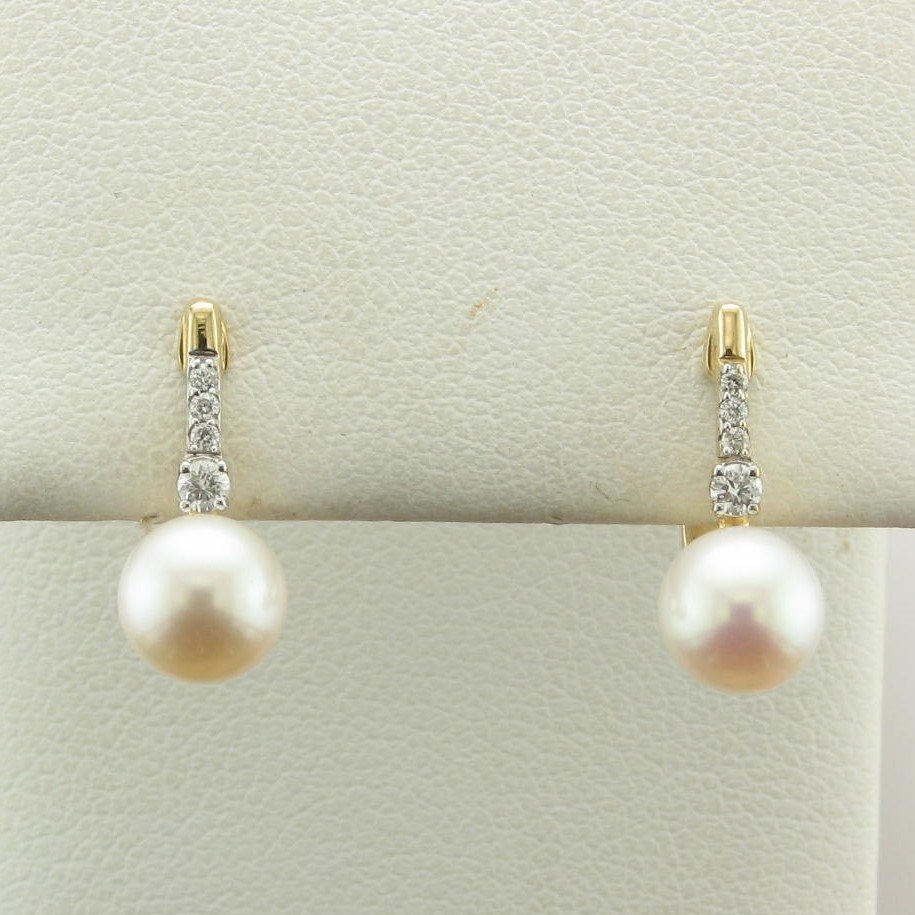 14K Yellow Gold Diamond and Pearls Earrings