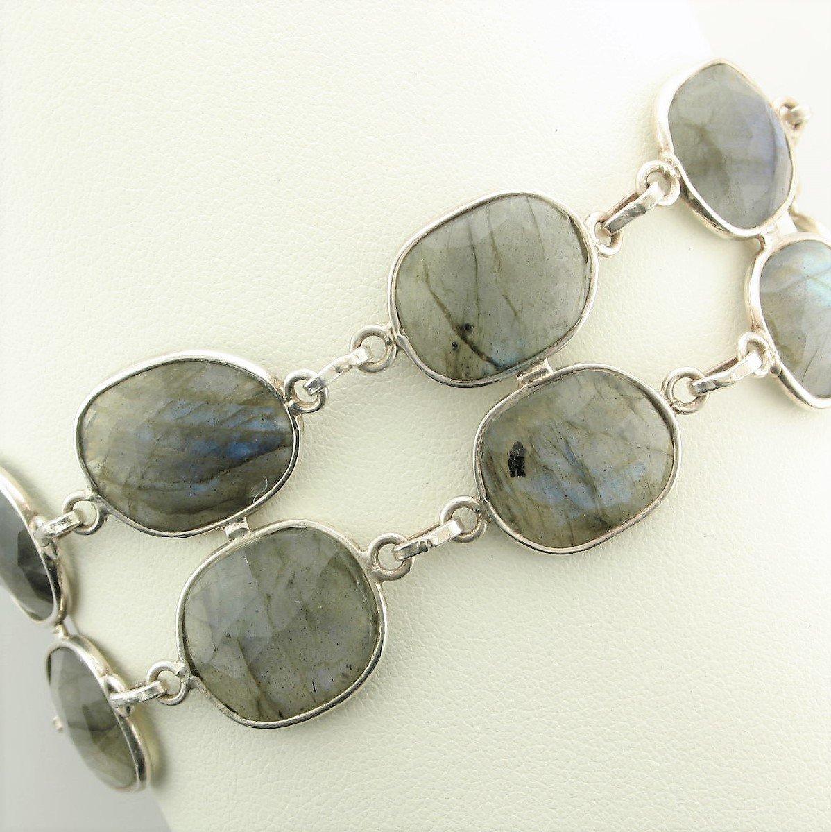Sterling Silver Double Strand Labradorite Bracelet