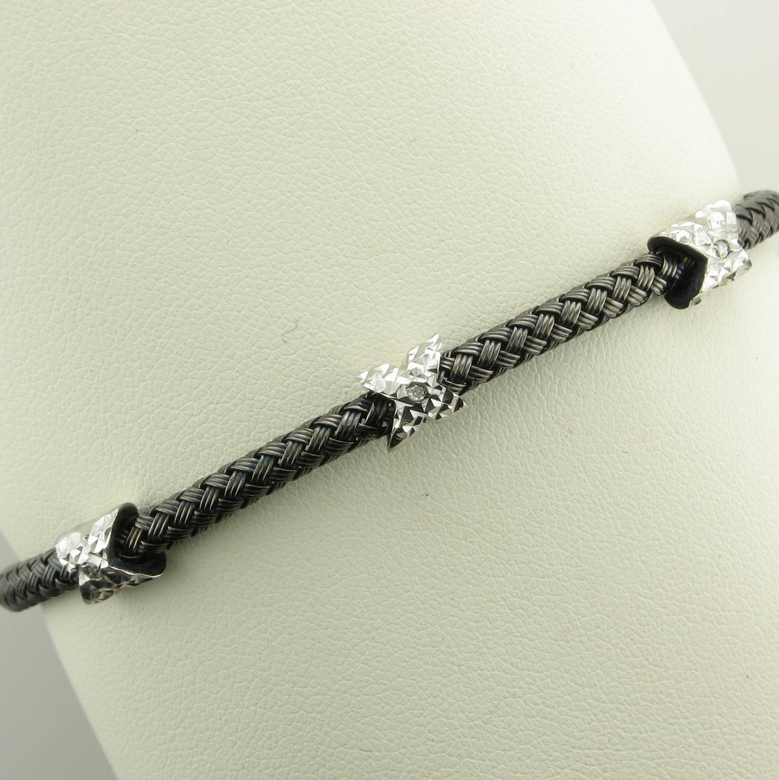 Sterling Silver Two-Tone Oxidized X's Bracelet