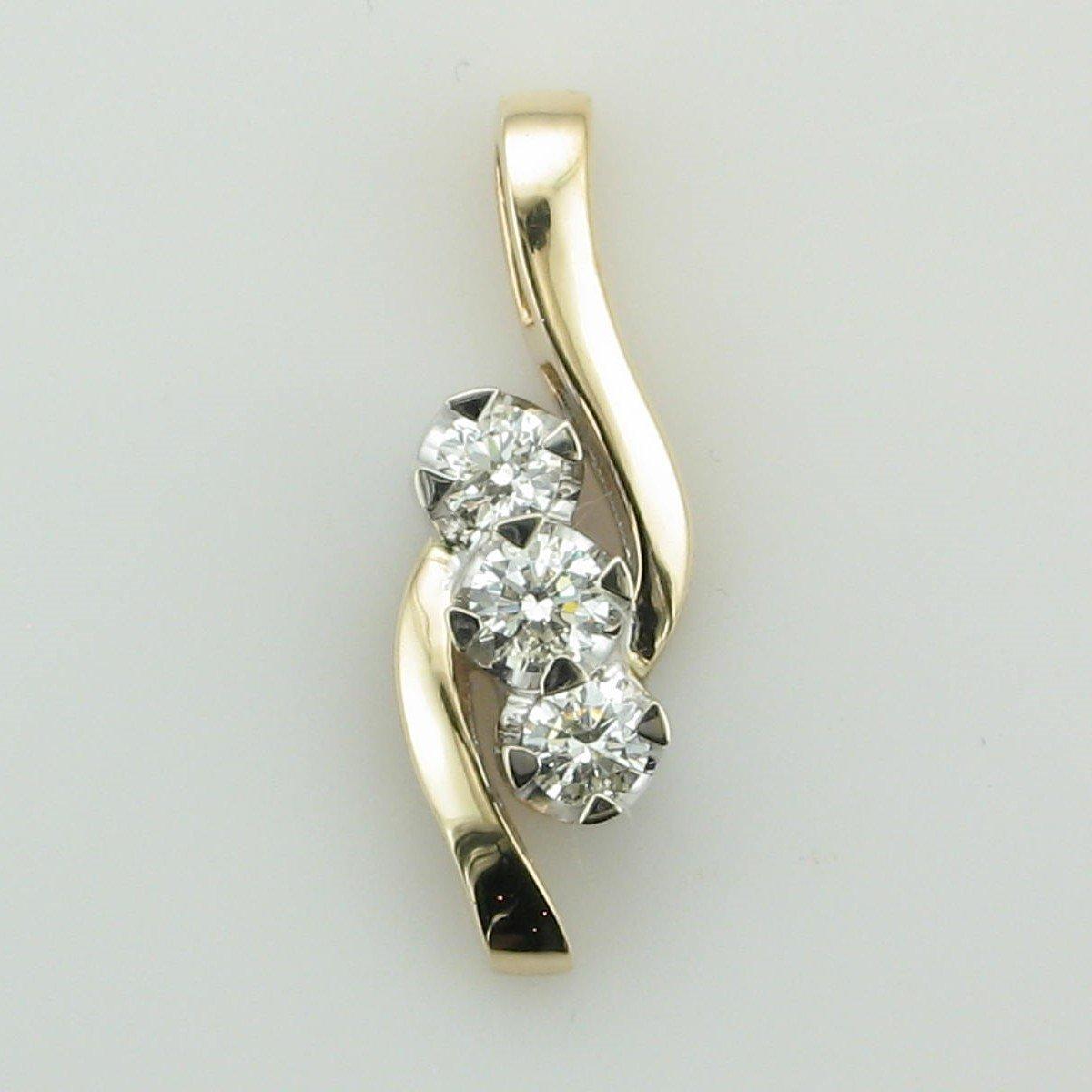 14K Yellow Gold Three Diamond Pendant