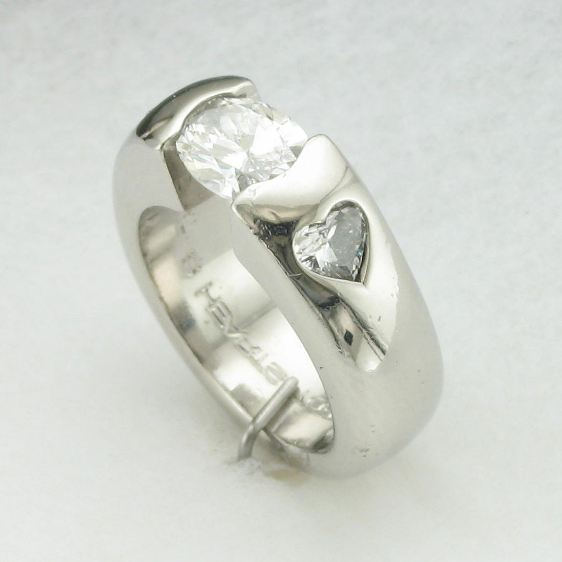 Platinum Designer Oval and Heart Diamond Ring