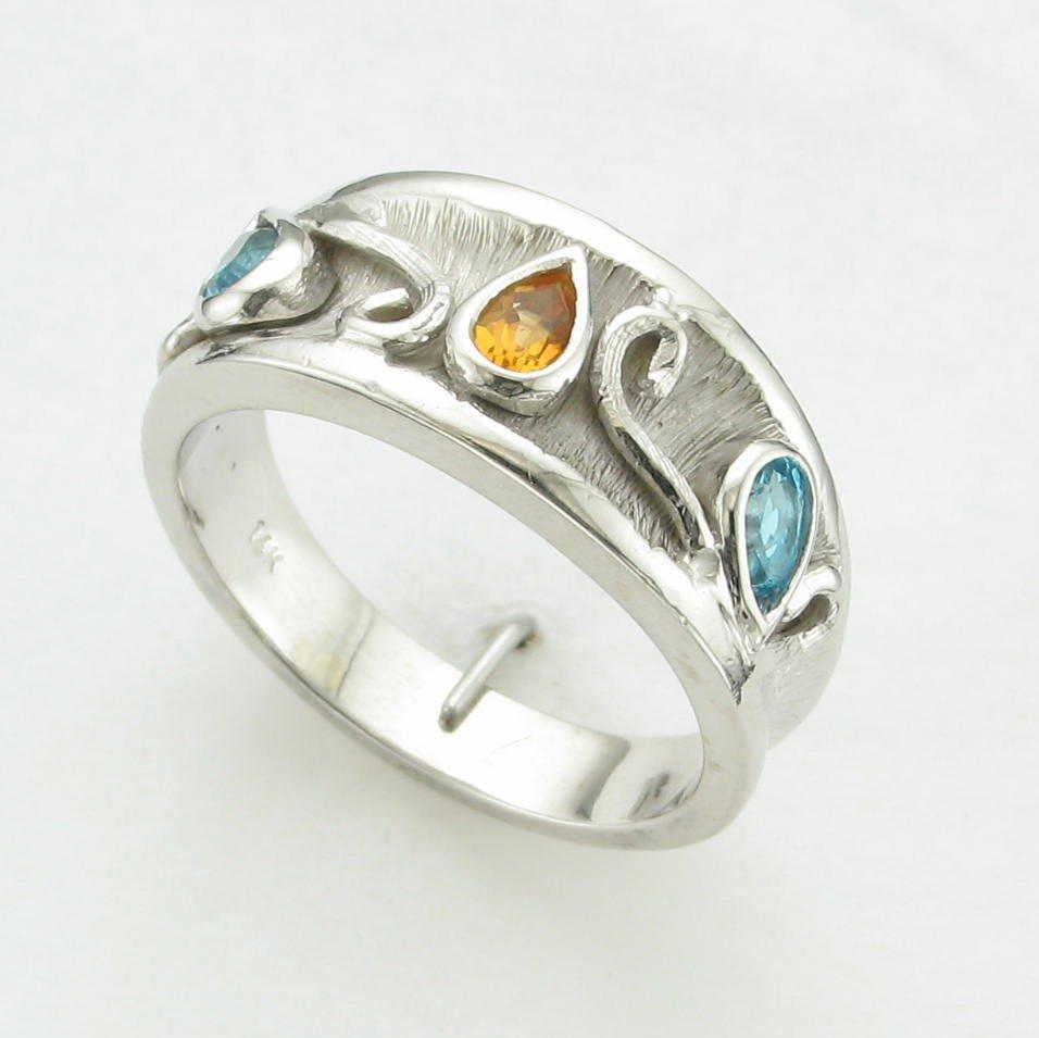 14K White Gold Citrine and Blue Topaz Ring