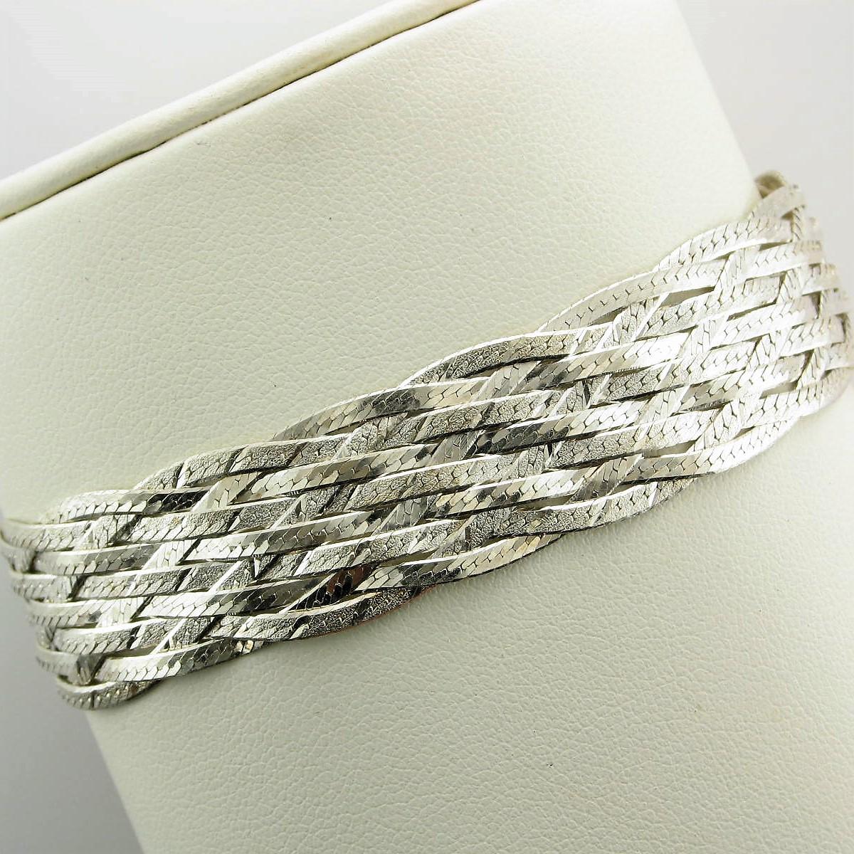 Sterling Silver Diamond Cut Wide Braided Bracelet
